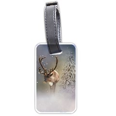 Santa Claus Reindeer In The Snow Luggage Tag (one Side) by gatterwe