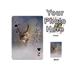 Santa Claus Reindeer In The Snow Playing Cards 54 (mini) by gatterwe