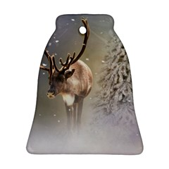 Santa Claus Reindeer In The Snow Bell Ornament (two Sides) by gatterwe