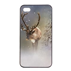 Santa Claus Reindeer In The Snow Apple Iphone 4/4s Seamless Case (black) by gatterwe