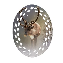 Santa Claus Reindeer In The Snow Oval Filigree Ornament (two Sides) by gatterwe