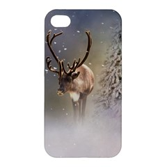 Santa Claus Reindeer In The Snow Apple Iphone 4/4s Premium Hardshell Case by gatterwe
