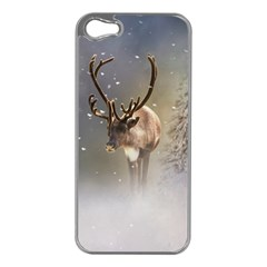 Santa Claus Reindeer In The Snow Apple Iphone 5 Case (silver) by gatterwe