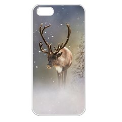 Santa Claus Reindeer In The Snow Apple Iphone 5 Seamless Case (white) by gatterwe