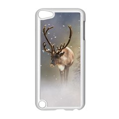 Santa Claus Reindeer In The Snow Apple Ipod Touch 5 Case (white) by gatterwe