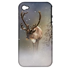 Santa Claus Reindeer In The Snow Apple Iphone 4/4s Hardshell Case (pc+silicone) by gatterwe