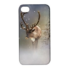 Santa Claus Reindeer In The Snow Apple Iphone 4/4s Hardshell Case With Stand by gatterwe