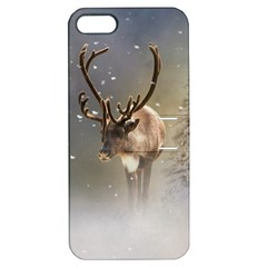 Santa Claus Reindeer In The Snow Apple Iphone 5 Hardshell Case With Stand by gatterwe