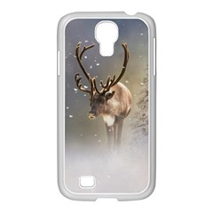 Santa Claus Reindeer In The Snow Samsung Galaxy S4 I9500/ I9505 Case (white) by gatterwe