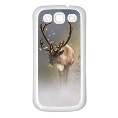 Santa Claus Reindeer In The Snow Samsung Galaxy S3 Back Case (white) by gatterwe