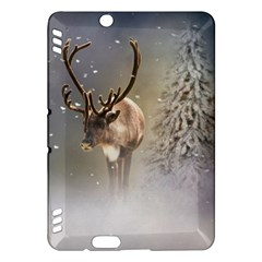 Santa Claus Reindeer In The Snow Kindle Fire Hdx Hardshell Case by gatterwe