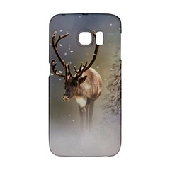 Santa Claus Reindeer In The Snow Samsung Galaxy S6 Edge Hardshell Case by gatterwe
