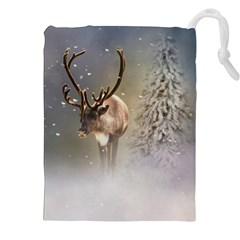 Santa Claus Reindeer In The Snow Drawstring Pouch (xxl) by gatterwe