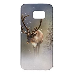 Santa Claus Reindeer In The Snow Samsung Galaxy S7 Edge Hardshell Case by gatterwe