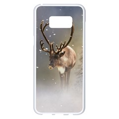 Santa Claus Reindeer In The Snow Samsung Galaxy S8 Plus White Seamless Case by gatterwe