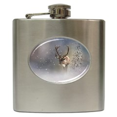 Santa Claus Reindeer In The Snow Hip Flask (6 Oz) by gatterwe