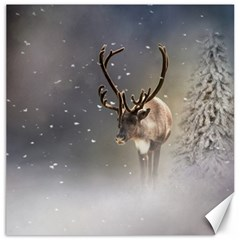 Santa Claus Reindeer In The Snow Canvas 12  X 12  by gatterwe