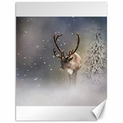 Santa Claus Reindeer In The Snow Canvas 12  X 16  by gatterwe