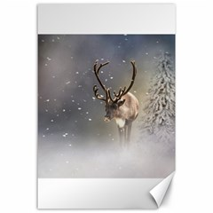 Santa Claus Reindeer In The Snow Canvas 24  X 36  by gatterwe