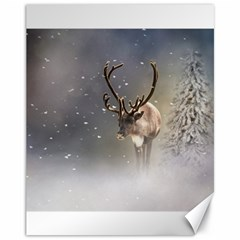 Santa Claus Reindeer In The Snow Canvas 11  X 14  by gatterwe