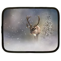Santa Claus Reindeer In The Snow Netbook Case (large) by gatterwe