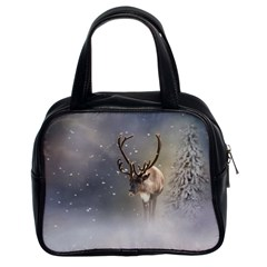 Santa Claus Reindeer In The Snow Classic Handbag (two Sides) by gatterwe