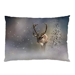 Santa Claus Reindeer In The Snow Pillow Case by gatterwe