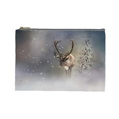 Santa Claus Reindeer In The Snow Cosmetic Bag (large) by gatterwe