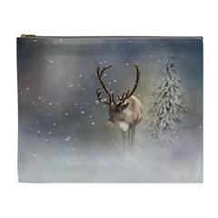 Santa Claus Reindeer In The Snow Cosmetic Bag (xl) by gatterwe