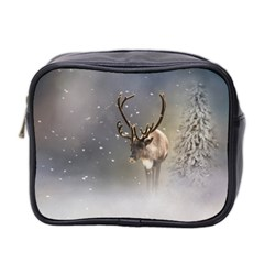 Santa Claus Reindeer In The Snow Mini Toiletries Bag (two Sides) by gatterwe