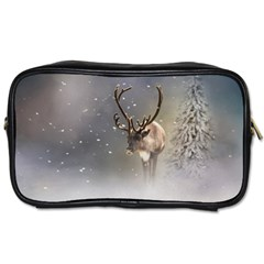 Santa Claus Reindeer In The Snow Toiletries Bag (two Sides) by gatterwe