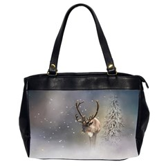 Santa Claus Reindeer In The Snow Oversize Office Handbag (2 Sides) by gatterwe