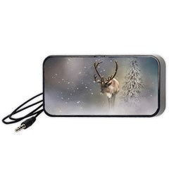 Santa Claus Reindeer In The Snow Portable Speaker (black) by gatterwe