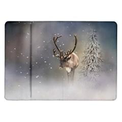Santa Claus Reindeer In The Snow Samsung Galaxy Tab 10 1  P7500 Flip Case by gatterwe
