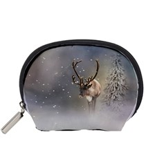 Santa Claus Reindeer In The Snow Accessory Pouch (small) by gatterwe