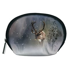 Santa Claus Reindeer In The Snow Accessory Pouch (medium) by gatterwe