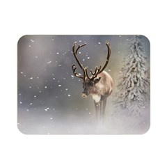 Santa Claus Reindeer In The Snow Double Sided Flano Blanket (mini) by gatterwe