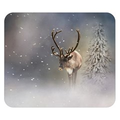 Santa Claus Reindeer In The Snow Double Sided Flano Blanket (small) by gatterwe