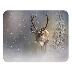 Santa Claus Reindeer In The Snow Double Sided Flano Blanket (large) by gatterwe