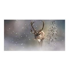 Santa Claus Reindeer In The Snow Satin Wrap by gatterwe