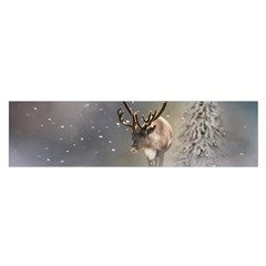 Santa Claus Reindeer In The Snow Satin Scarf (oblong) by gatterwe