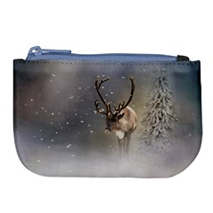 Santa Claus Reindeer In The Snow Large Coin Purse by gatterwe