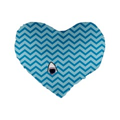 Chevron Shark Pattern Standard 16  Premium Flano Heart Shape Cushions by emilyzragz