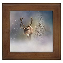 Santa Claus Reindeer In The Snow Framed Tiles by gatterwe