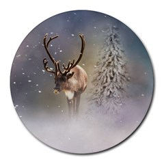 Santa Claus Reindeer In The Snow Round Mousepads by gatterwe