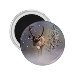 Santa Claus Reindeer In The Snow 2 25  Magnets by gatterwe