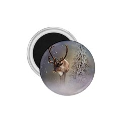 Santa Claus Reindeer In The Snow 1.75  Magnets