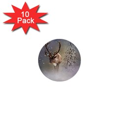 Santa Claus Reindeer In The Snow 1  Mini Buttons (10 Pack)  by gatterwe