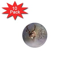 Santa Claus Reindeer In The Snow 1  Mini Magnet (10 Pack)  by gatterwe