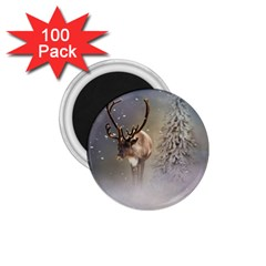 Santa Claus Reindeer In The Snow 1 75  Magnets (100 Pack)  by gatterwe